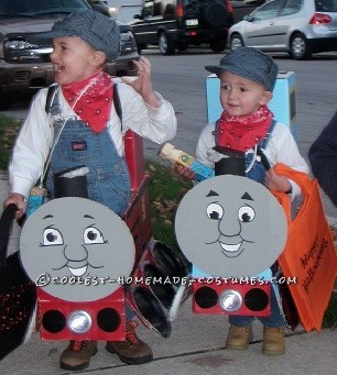 My Boys in Thomas and James Trains Homemade Halloween Costumes