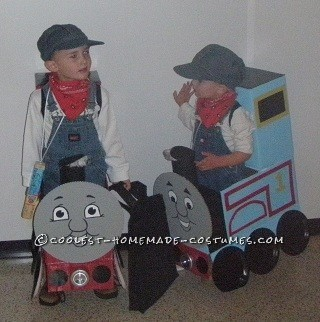 My Boys in Thomas and James Trains Homemade Halloween Costumes - 2