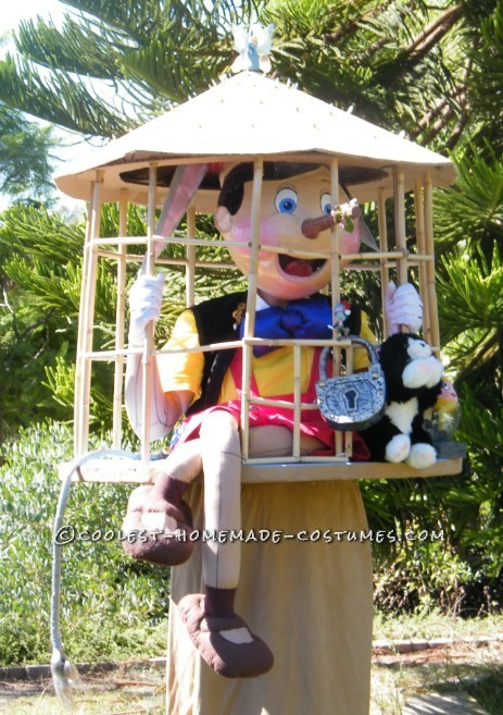 Pinocchio's and his friends Jiminy Cricket, Figaro, and Cleo. I improved on my naughty Pinocchio cage costume by adding a paper mache Pinocchio head