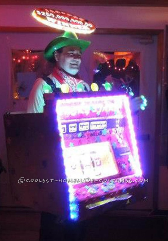 I got the idea to make this working Slot Machine costume while on a bus-trip to a nearby cascino.   The costume is made, excluding lighting and