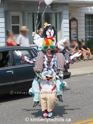 I created this costume for the first time with only two clowns about 15 years ago. Then I re-did it completely, adding the top clown. These photos ar