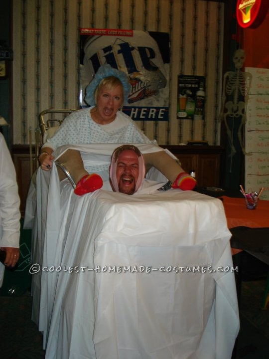 "For Halloween 2010, my husband and I constructed what can only be described as a ""contraption"", so it appeared that I was giving birth&he"
