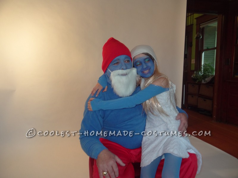 Couples Papa Smurf and Smurfette – Dad and Daughter Costume - 1
