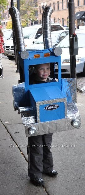 "My son was 5 & obsessed with ""big trucks"".  The only thing he wanted to be for Halloween was a Peterbilt.  So, I used 3 boxes, painte"