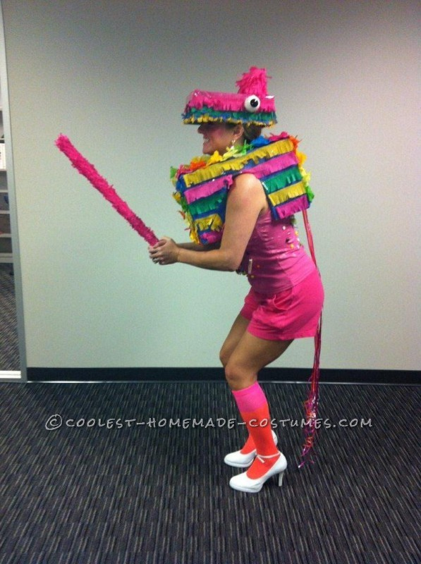 This was a time consuming costume to make but it was worth all the fun I had wearing it. I used to have Pinatas at all my birthday parties. I j