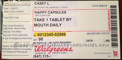 I am a pharmacist and work for Walgreens so when someone suggested I do something work related for the office costume contest, a prescription bottle