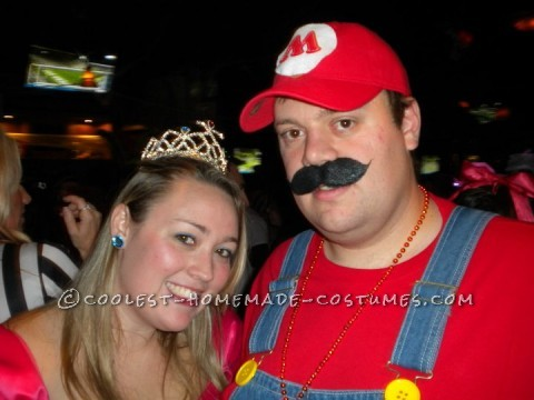 Prom Dress Turned Princess Peach and Mario Costumes