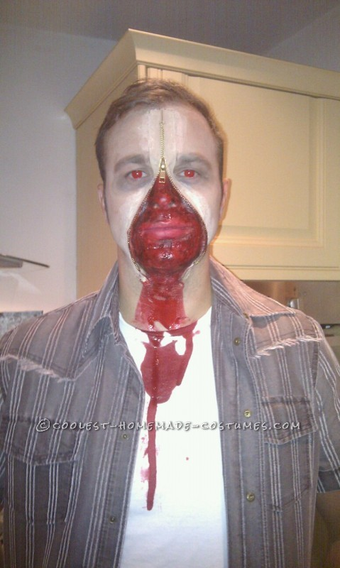 Scary Red-Eyed Zipper Face Halloween Costume