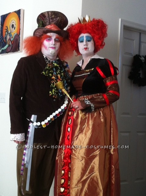 We bought the red queen costume. But made his mad hatter costume from scratch except for his hat. We bought everything at goodwill and i hot glued th
