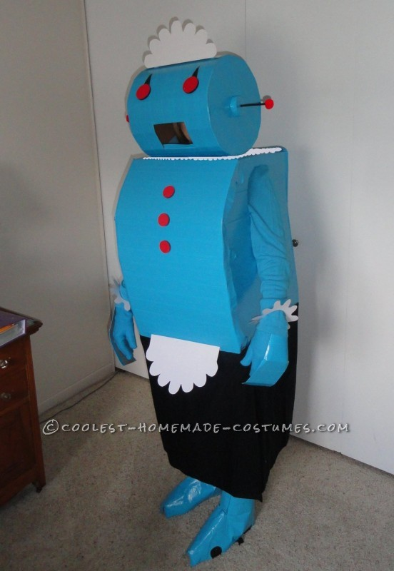 I was looking for something special for my wife's costume when I came across the Rosie the Robot idea. So I made a trip to the recycling center