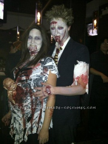 This was my costume last year, me and my boyfriend LOVE zombies! I wanted to do a zombie with the baby coming out of the belly. I didn\'t want to d