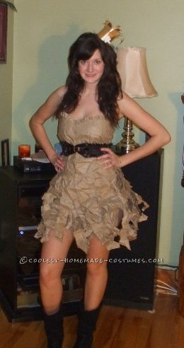 This was my 2010 homemade costume! I wanted to be a paper-bag princess but I didn`t want to just throw a bag over my head and go. Eve