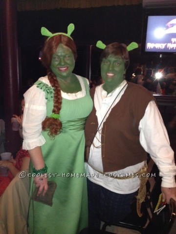 Inspired by the classic movies and recent broadway production of Shrek, we decided to make some green magic of our own.  Shrek and Fiona costume