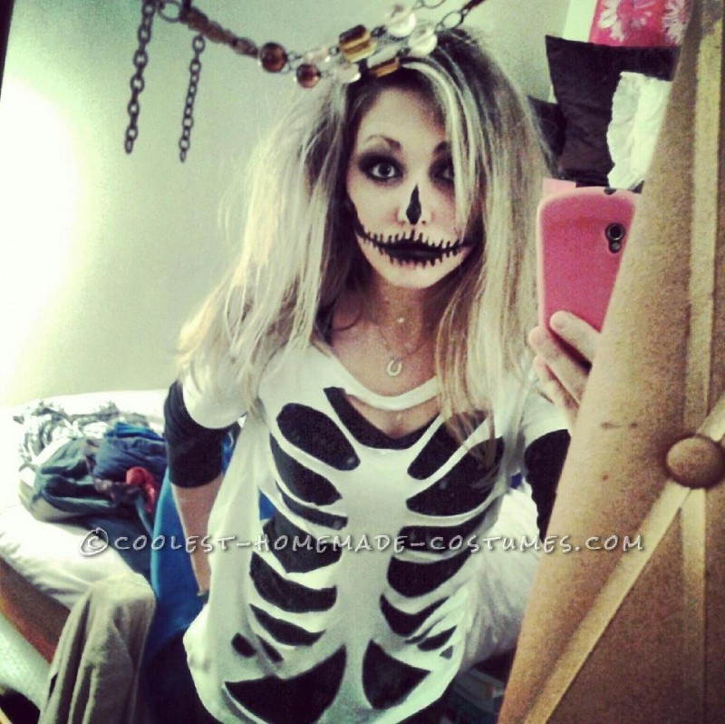 Last Minute Homemade Sister Skeletons Halloween Costumes - 2