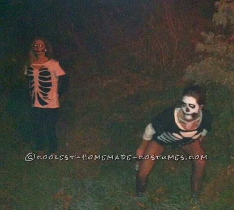 Last Minute Homemade Sister Skeletons Halloween Costumes