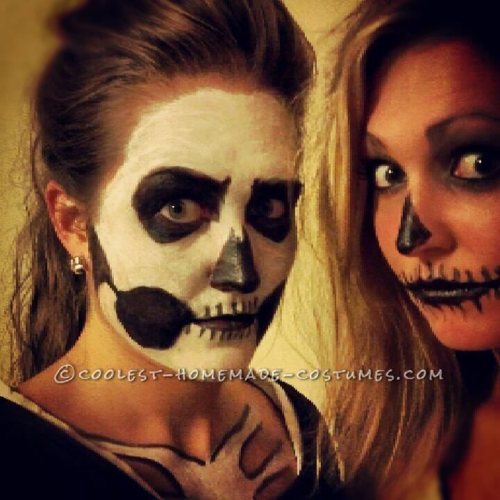Last Minute Homemade Sister Skeletons Halloween Costumes - 1