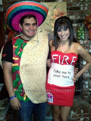 The taco costume you can find at any halloween Store. For the Hot sauce packet i bought a simple red dress from Forever 21. I went to joann's and bo