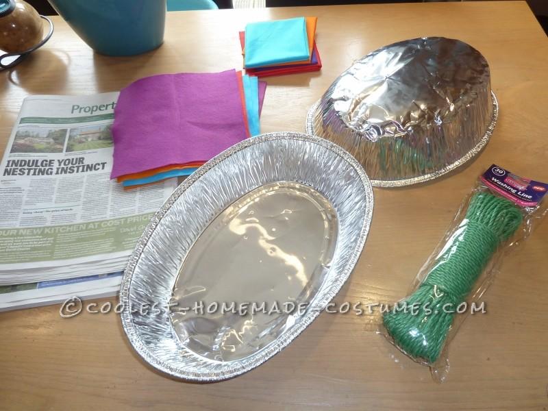Aluminium roasting tin for the shell.
