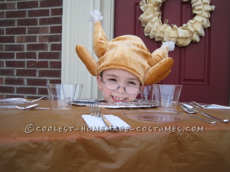 Creative Turkey Head on Thanksgiving Table Costume Idea - 1