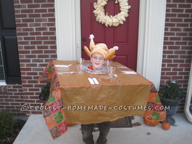 Last year my son decided to be a Thanksgiving table.  This costume was super easy to create!  I just cut two squares out of cardboar