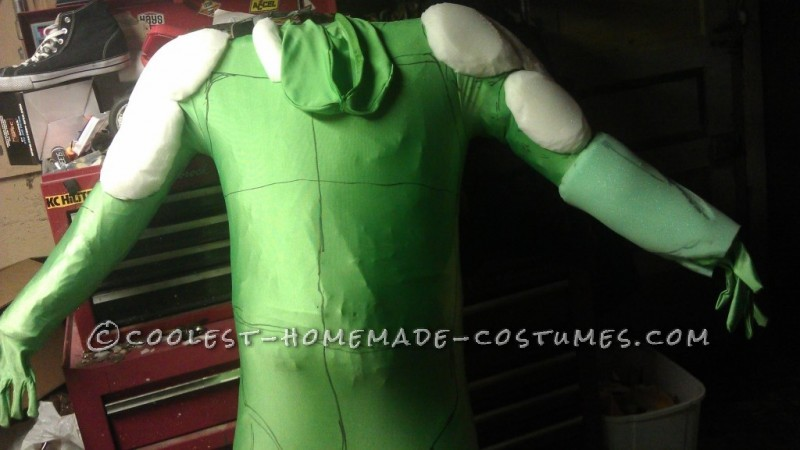 Green suit and start of muscle structure