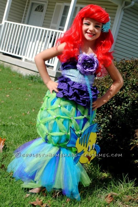Coolest Homemade Girl's Halloween Costume: Ariel - 2