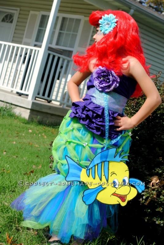 Coolest Homemade Girl's Halloween Costume: Ariel - 4