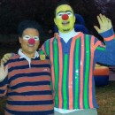 Bert\'s shirt was made from a Blue v neck thermal shirt, green and orange duct tape for the stripes. super easy and took less than 10 min! Ernies s