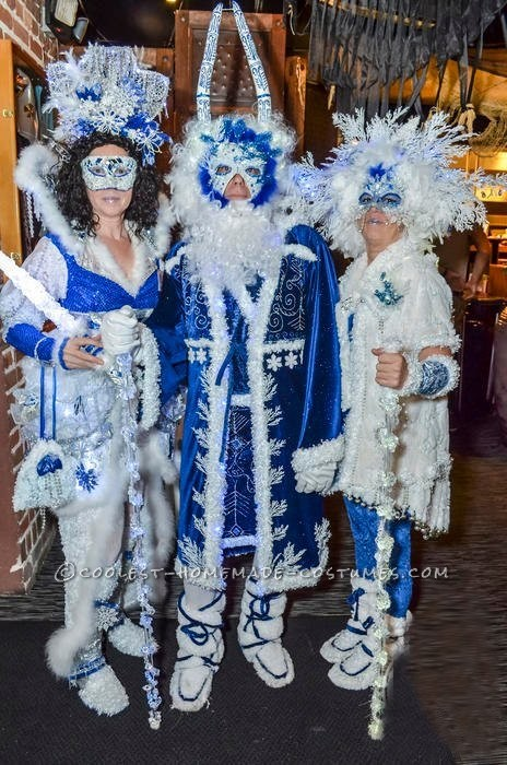 We all work on our own costumes. We start with a theme and gather materials throughout the year. This years theme is Winter and our group name is Win