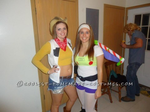 My friend and I were Buzz ad Woody for Halloween.  These costumes were very easy to make and everyone loved them!! For the Woody costume,