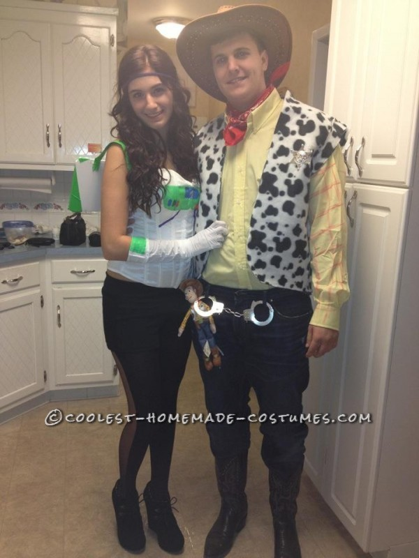 Homemade Buzz Lightyear and Woody Couple Costume