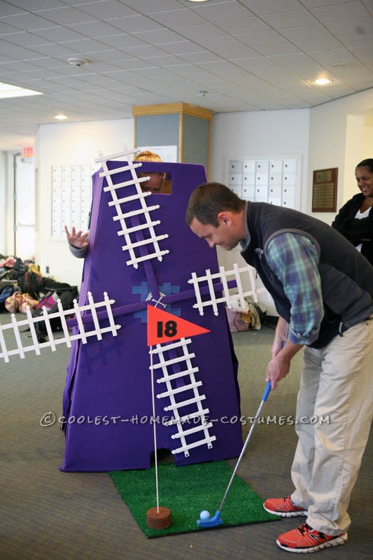 I love mini-golf and when I was playing this summer with friends, I thought it would make a pretty cool costume. The windmill is made from cardboard,