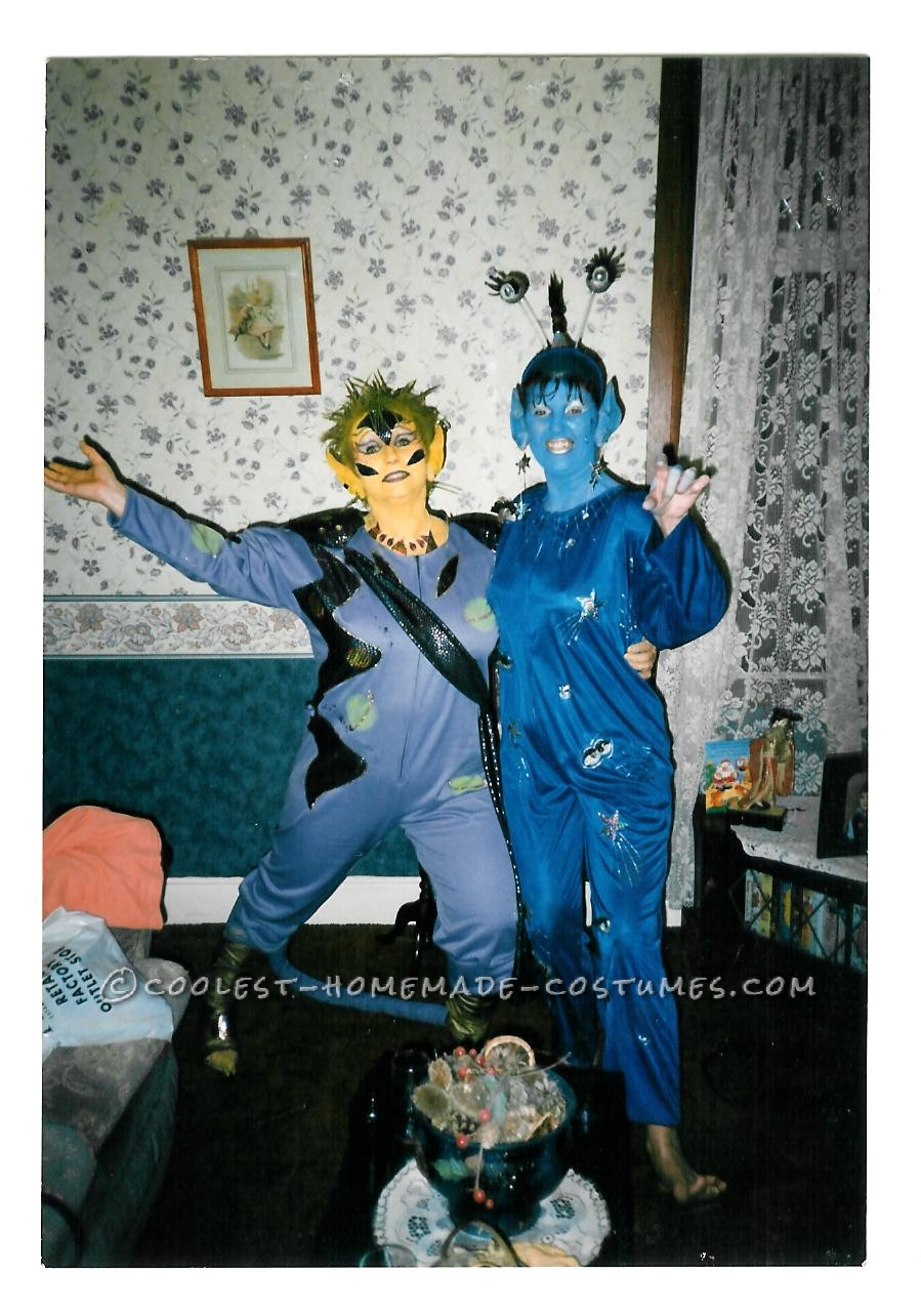 The theme for this fancy dress was 'bad taste'. Turning up to the event painted blue and yellow wearing swimming flippers and plastic ears definate
