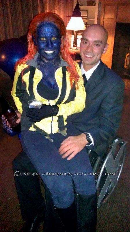 I was Mystique and my boyfriend was Professor X. We took an old wheelchair and spray painted it silver and put the X wheels on it. For Mystique, I di