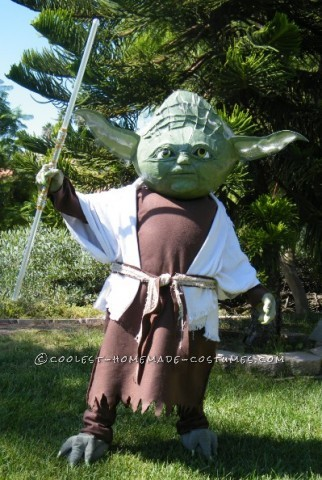 I made Yoda the Jedi Master from a simple picture I took from the movie. His head was made of starch and news paper with a large punching balloon for