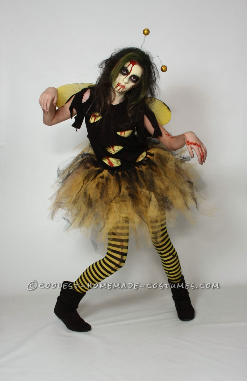 """My daughter and her Zombee costume! My daughter hates to be \""""pretty\"""" for halloween, every year its a Vampire, Witch or some form of the undead."""