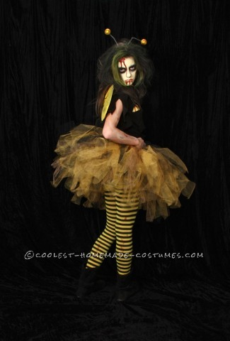 "My daughter and her Zombee costume! My daughter hates to be ""pretty"" for halloween, every year its a Vampire, Witch or some form of the undead."