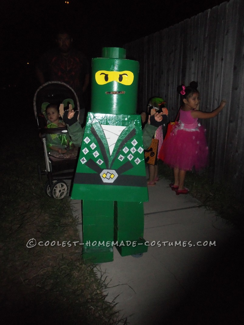 Our 6yr old really wanted to be a Ninjago for Halloween, but since the closest costume was a regular ninja we decideed to step it up LEGO LEFE!! We u