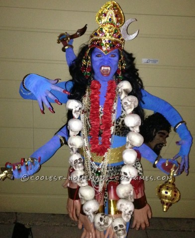 Cool Homemade Kali Costume, the Six-Armed Hindu Blue Goddess: I absolutely love my costume for this year, and Halloween in general!! I was Kali, the six-armed Hindu Blue Goddess. A friend of mine, Josh, and I pu