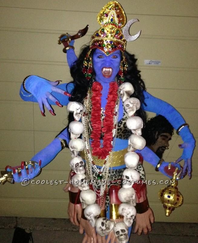 Cool Homemade Kali Costume, the Six-Armed Hindu Blue Goddess