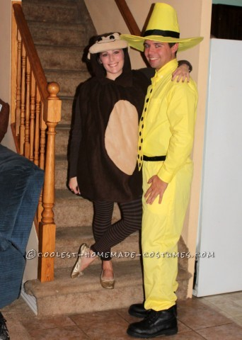 Adult Curious George and the Man with the Yellow Hat Couple Costume