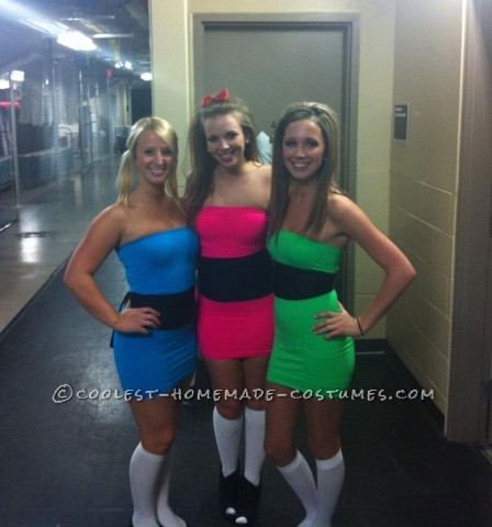 Thus, the Power Puff girls were born!  All you need is a pink, blue, and green mini dress with a piece of black fabric for the middle (or a bel