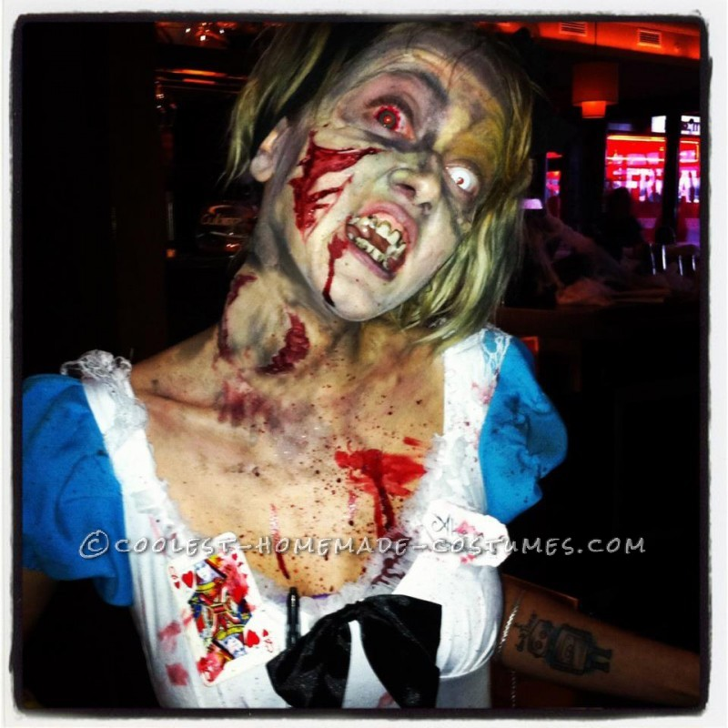 Horrific Alice in Zombieland Costume and Makeup: To become Alice in Zombieland, it took about a month and a half to prepare and about four hours of making. Almost all the accessories I bought online,