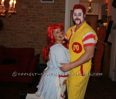 Angry Ronald McDonald and Wendy Couple Costume - 1