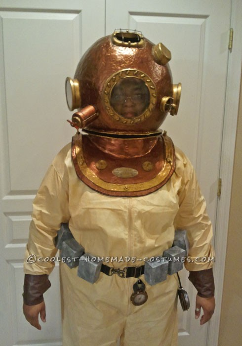 Awesome Homemade Antique Deep Sea Diver Halloween Costume: After looking for days online for the costume I wanted to make I decided on a diving costume. I also wanted it to look more aged instead of the newer