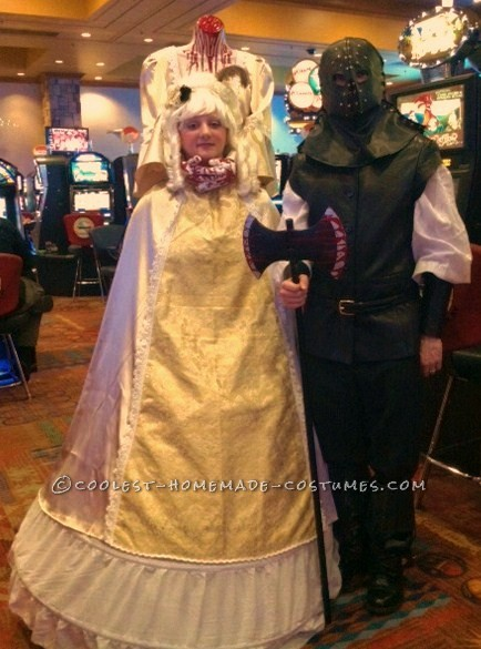 Award-Winning Beheaded Marie Antoinette With Executioner Couple Costume:  Back in 2009, my mother and I were on your website and came across a photo of a headless boy with his head in a jar (2007's grand prize winner). W
