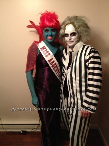 Awesome Couple Costume: Miss Argentina and Beetlejuice: I had so much fun with this Miss Argentina and Beetlejuice costume! I actually pieced it together from random findings. I found the dress on Ebay and