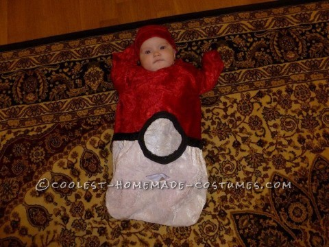 Cutest Homemade Baby Pokeball Costume: Well, I live in Germany and fabric is really expensive here. I wanted to make a baby Pokeball costume. First thing I I did was order a baby sleep sack