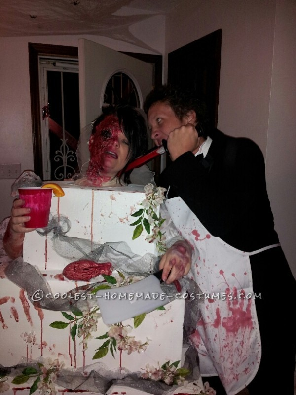 Gory Bride Baked into a Wedding Cake and Blood Thirsty Groom Couple Costume