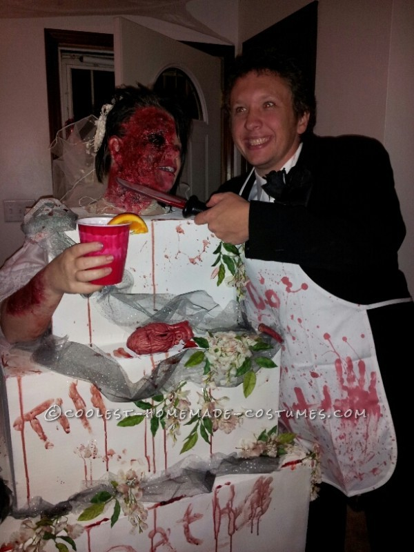 Gory Bride Baked into a Wedding Cake and Blood Thirsty Groom Couple Costume - 2
